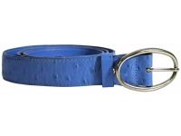 Ledergürtel mit Dornverschluss in Straussenprägung (Aquablau)