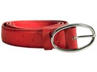 Ledergürtel mit Dornverschluss in Straussenprägung (Rot)